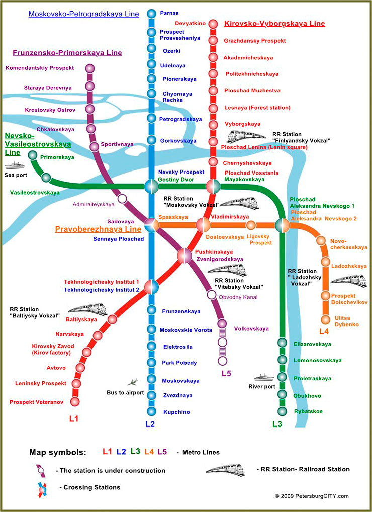 metro (underground) map saint petersburg